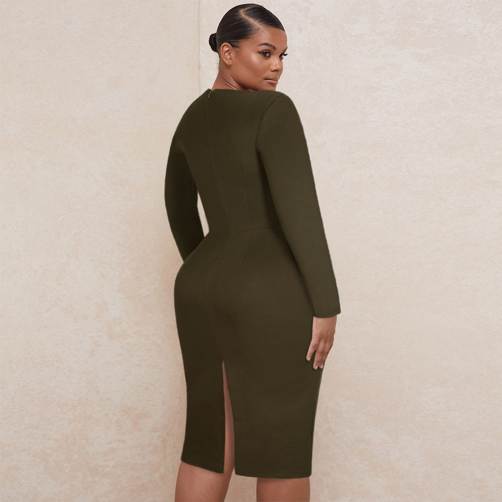 Maketina New Arrivals Crepe Long Sleeve Plus Size Bodycon Dress Party Dresses