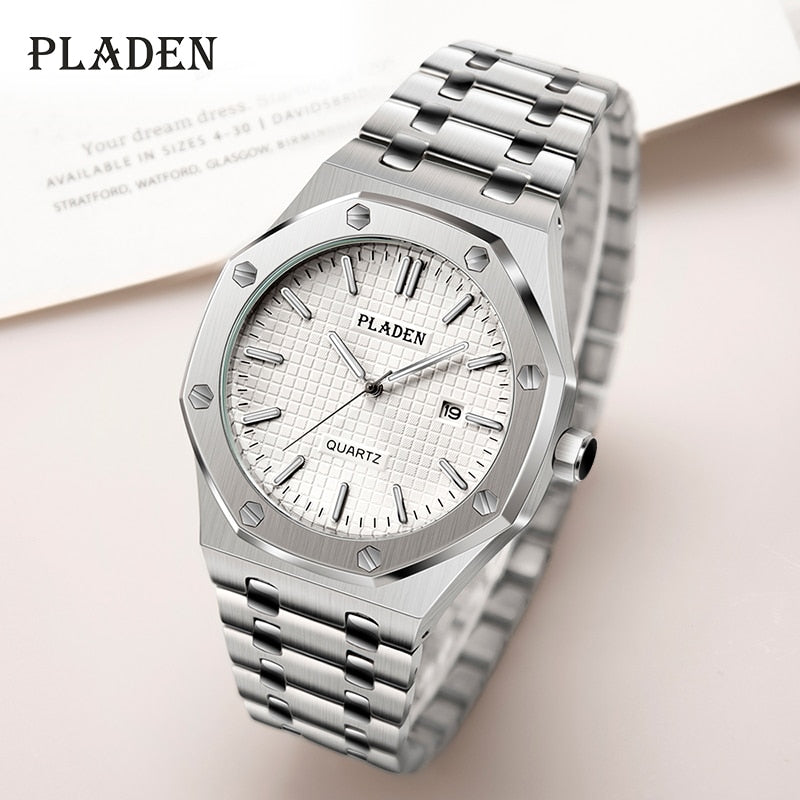 PLADEN White Dial Men Watches Stainless Steel Quartz Pointer luminous Brand Watch