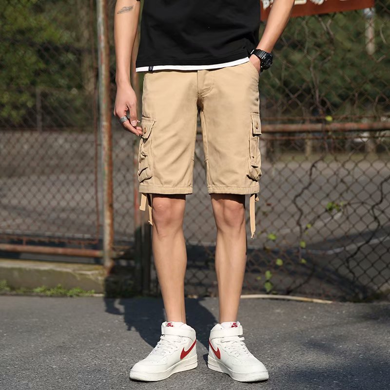 Men's Long Length Cargo Shorts Summer Multi-Pocket Casual Cotton Elastic Capri Pants