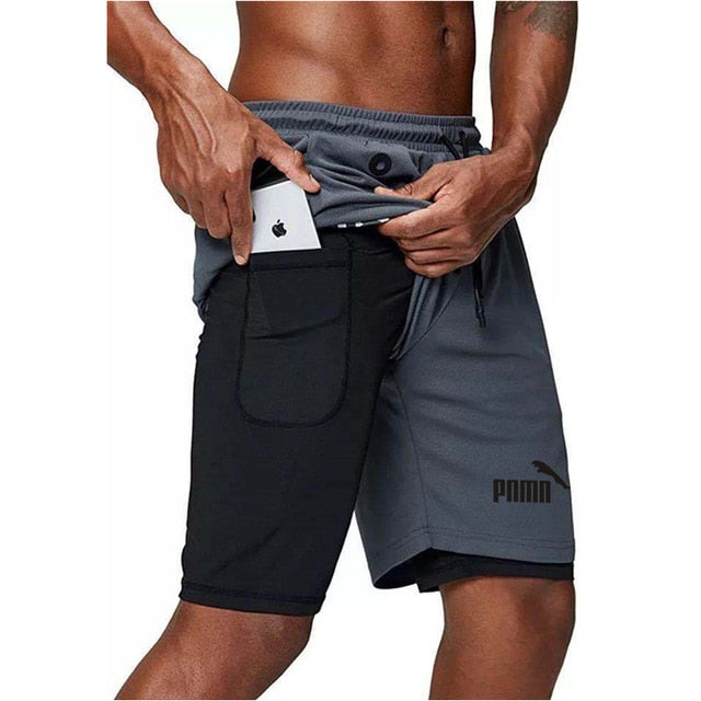 NEW Men's Running Shorts Mens 2 in 1 Sports Shorts Male double-deck Quick Drying