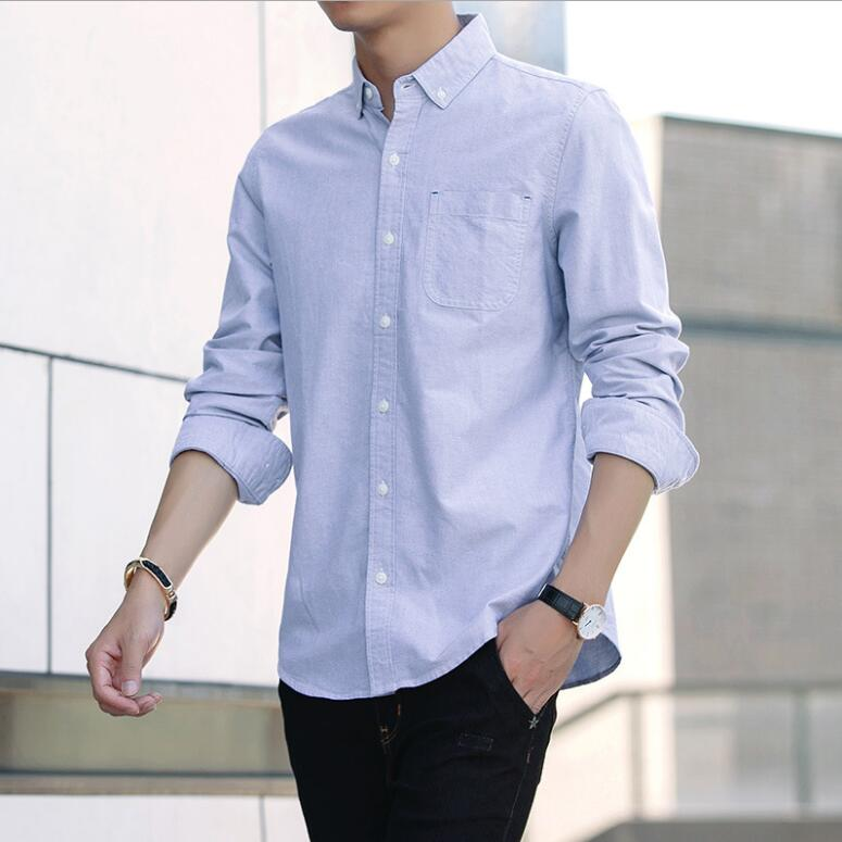 Men's Stand Collar Casual Shirt Long-Sleeved Slim Men's Solid Color Business Dress Shirt