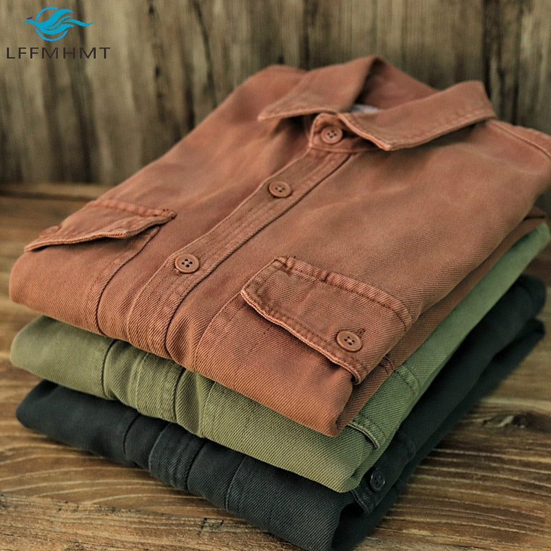 Men Vintage Heavyweight Thicken Long Sleeve Multi Pocket Cargo Shirt