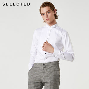 SELECTED Men's Cotton-blended Long-sleeved Slim-fit Shirt