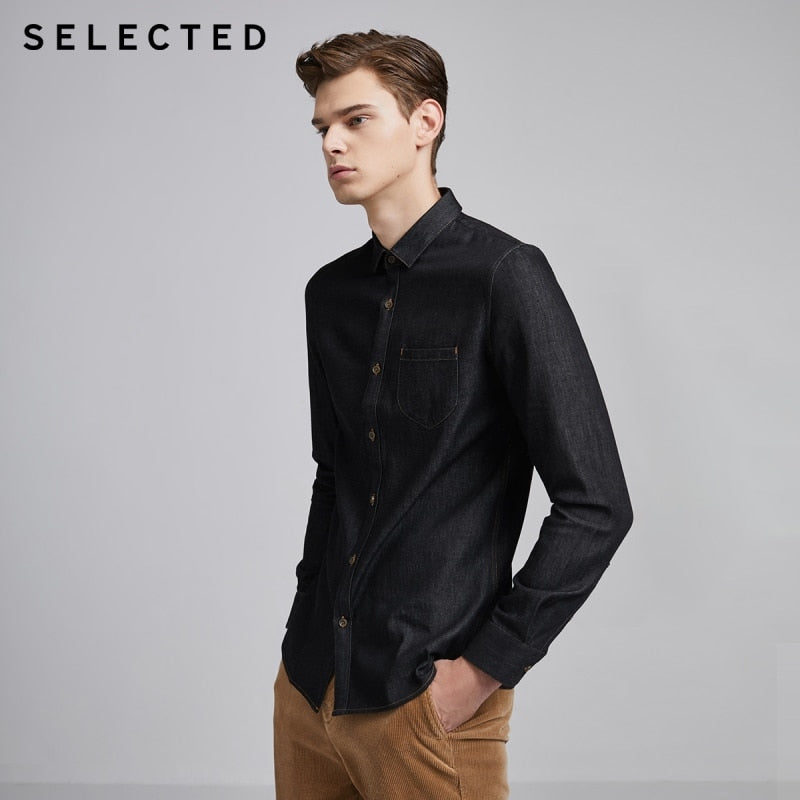 SELECTED 100% Cotton Slim Fit Men's Casual Long-sleeve Denim Shirt