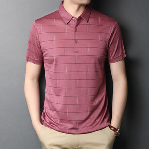 Mens Classic Striped Polo Shirt Natural Silk Short Sleeve 2020 New Arrival