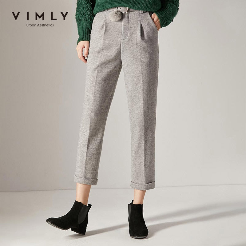 Vimly Women Suit Pants Elegant Office Lady Solid High Waist Pocket Slim Thick Long Pant Vintage