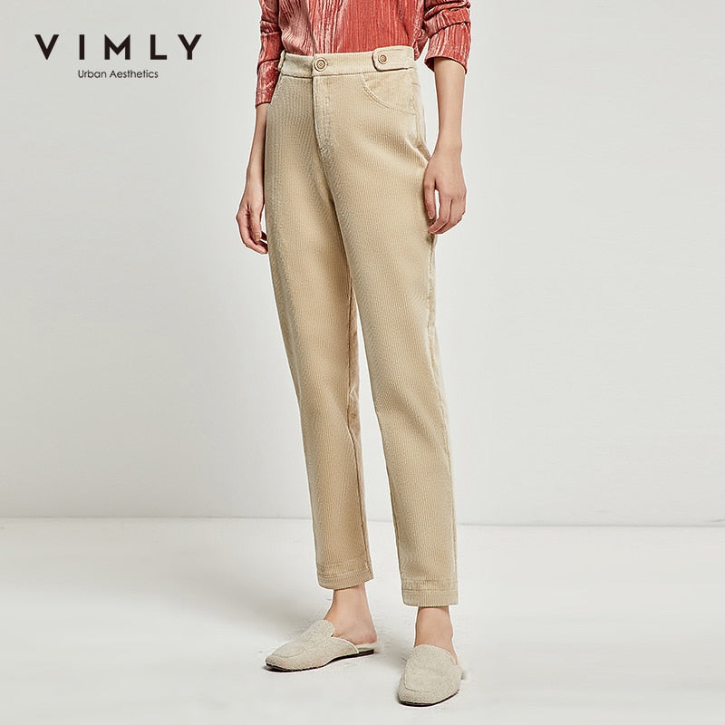 Vimly Women Corduroy Long Pants Elegant Office Lady High Waist Thick Slim Vintage
