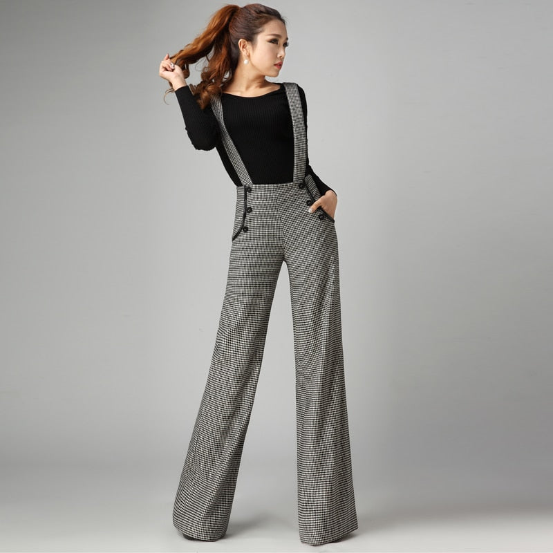 Thickening Woolen Wide Leg Pants Female Pants Feet Suspenders Long Trousers