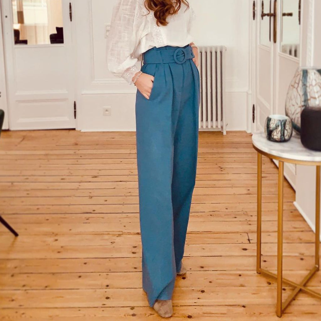 Dark Blue Wide Leg Pants Women High Waits Belt Pocket Loose Casual Trousers