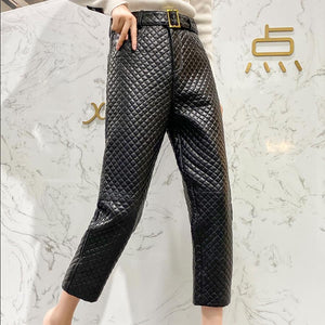 Real leather pants diamond Splicing thicker warm Genuine sheep Leather pants
