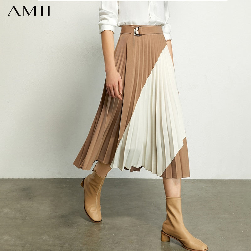AMII Minimalism Autumn Fashion Pleated Women Skirt Spliced High Waist