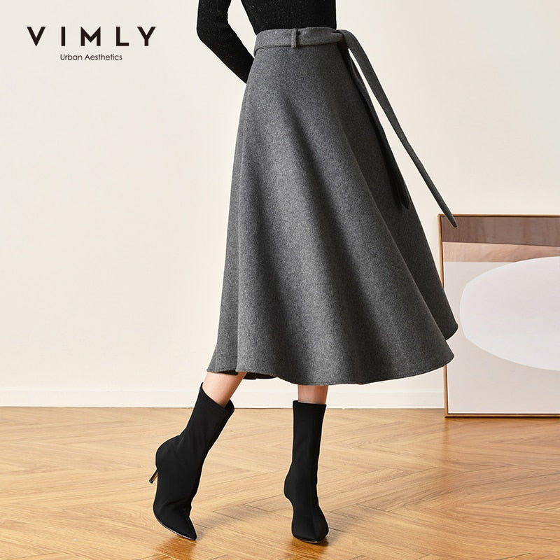 Vimly Elegant Wool Skirts For Women Winter High Waist Slim Solid A Line