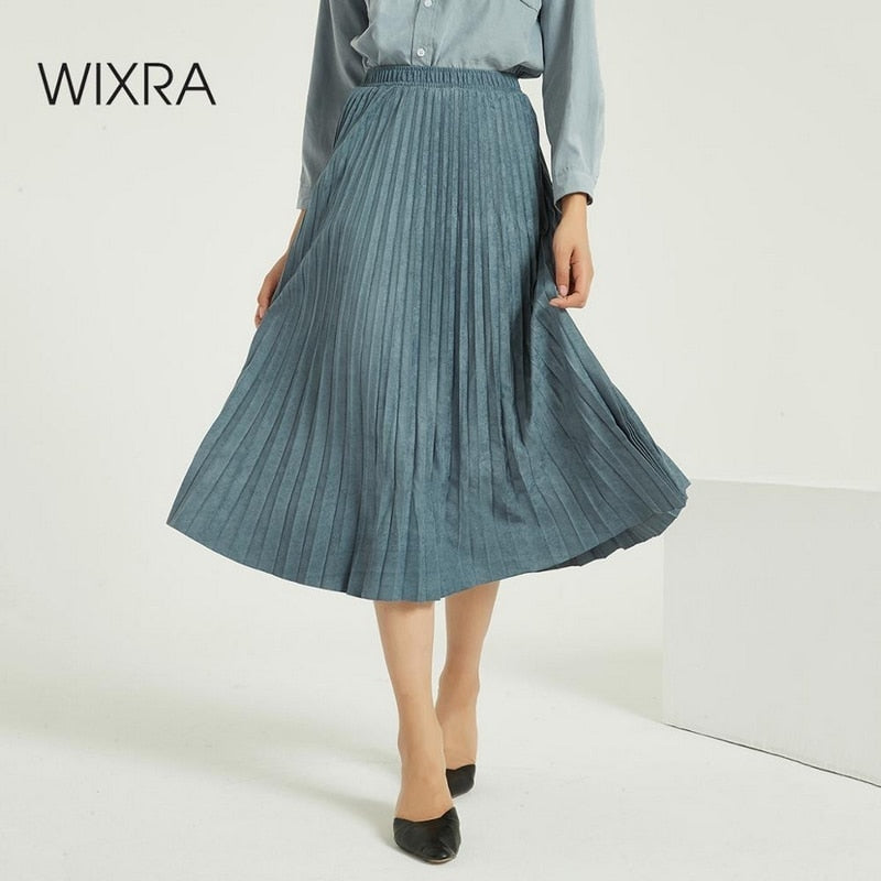 Wixra Women Suede Pleated Skirts Classic Casual Thick Mid-Calf Skirt Streetwear