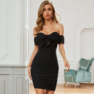 Off Shoulder Short Sleeve Black Bandage Dress Sexy Women Bodycon Bow Party Celebrity  Mini Dresses