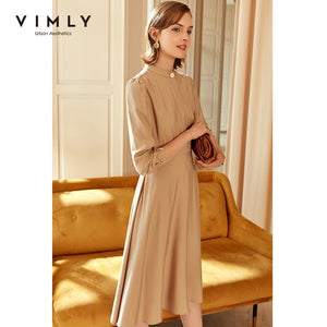 Vimly Autumn Women's Dress Fashion Stand Collar High Waist Long Sleeve Vestidos