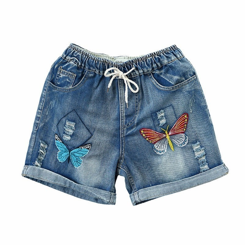 Vintage Embroidery butterfly Holes Cotton Denim Shorts