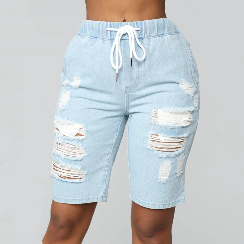 Women Middle-Waisted Washed Ripped Hole Knee Length Jeans