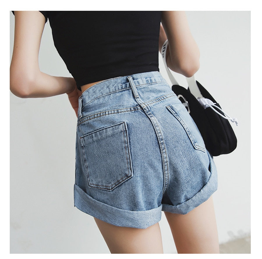 Streamgirl Denim Shorts Women white black Women Short Jeans Khaki Wide Leg Elastic Waist