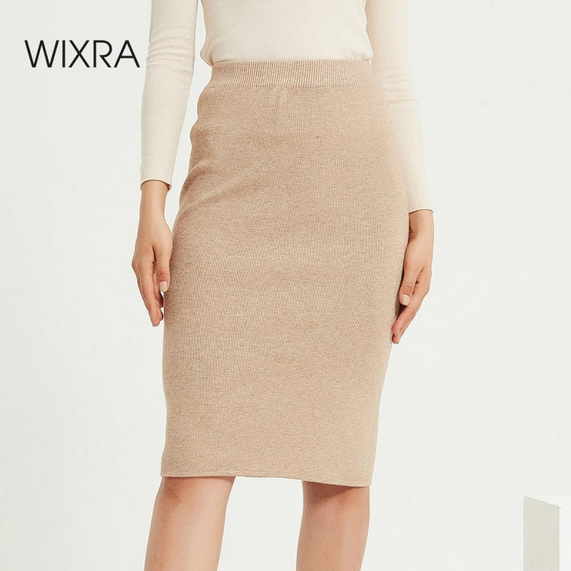 Wixra Womens Knitted Straight Skirts Solid Basic Ladies High Waist Knee-length Skirt