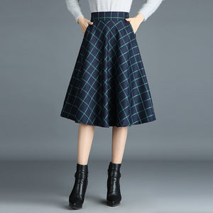 Elastic Waist Pleated Skirts Womens Elegant Grid Pattern Vintage Scottish Style
