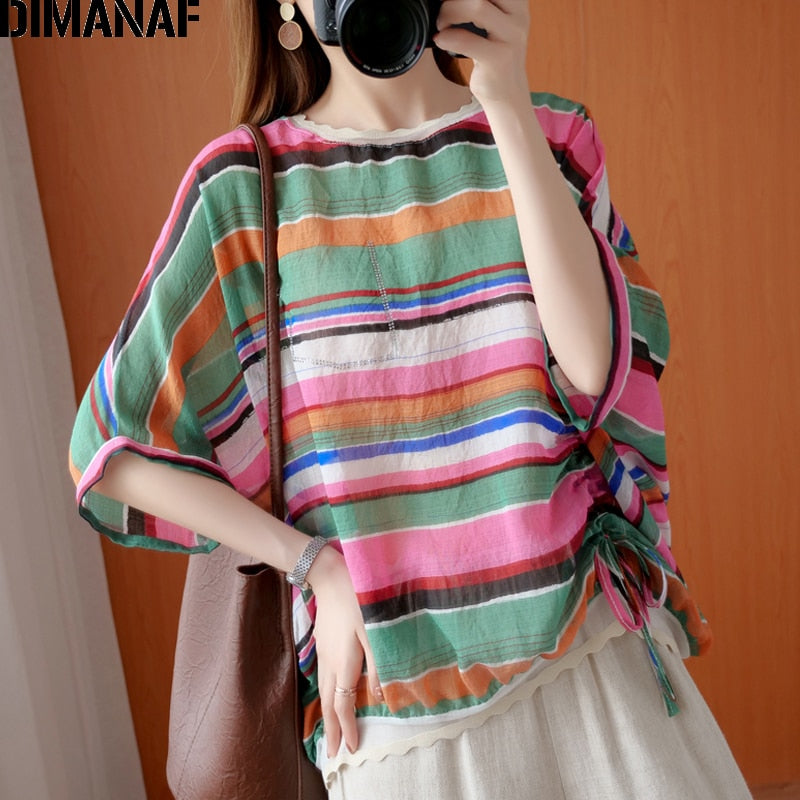 DIMANAF Summer Plus Size Women Blouse Shirt Lady Tops Tunic Cotton