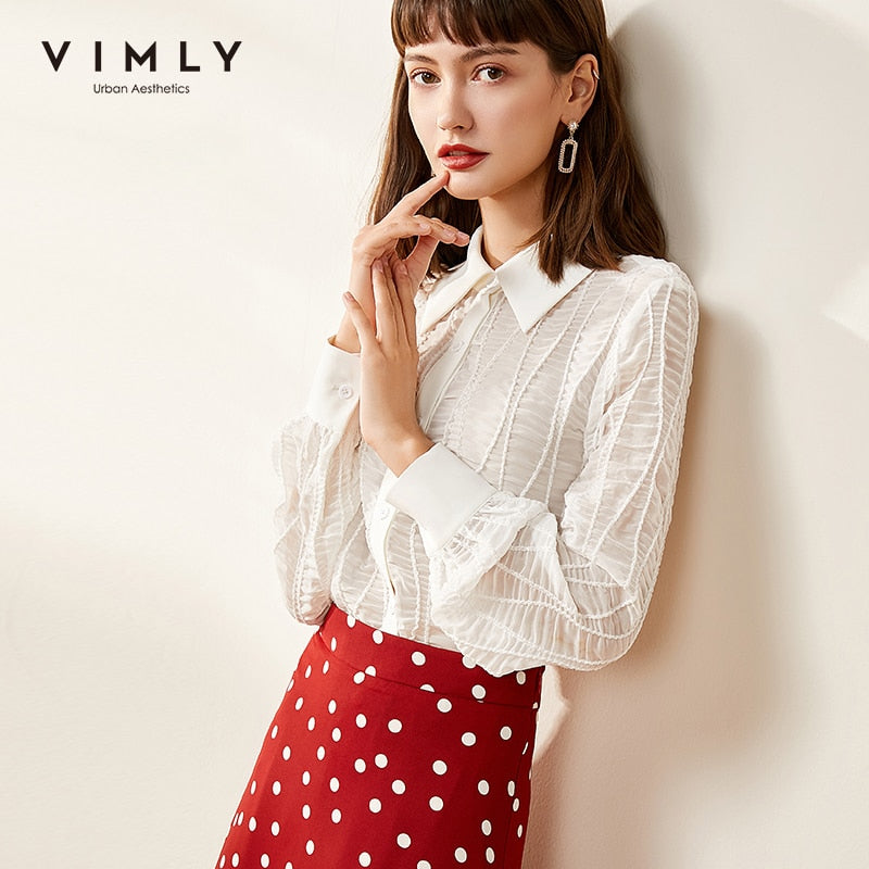 Vimly Blusas Feminina Office Lady Elegant Turn Down Collar Single Breasted Solid Autumn Clothes