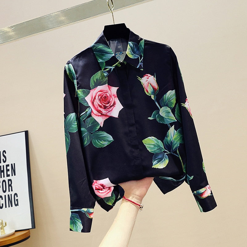 Spring Autumn Women's Long-sleeved Shirt Rose Flower Shirt