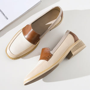 Women's genuine leatherr slip-on flats loafer leisure soft comfort
