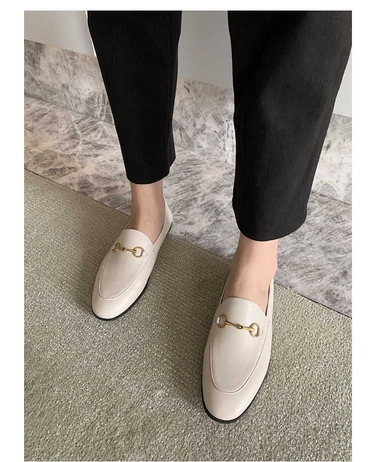 Spring 2020 New British Style Retro Flat Shoes Women's Horsetie Buckle