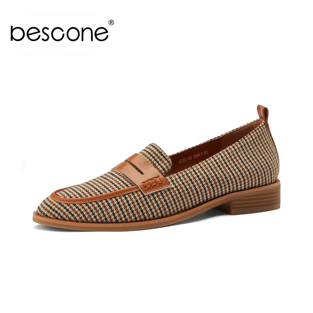 Bescone Women Retro Brown Flats Round Toe Low Square Heel