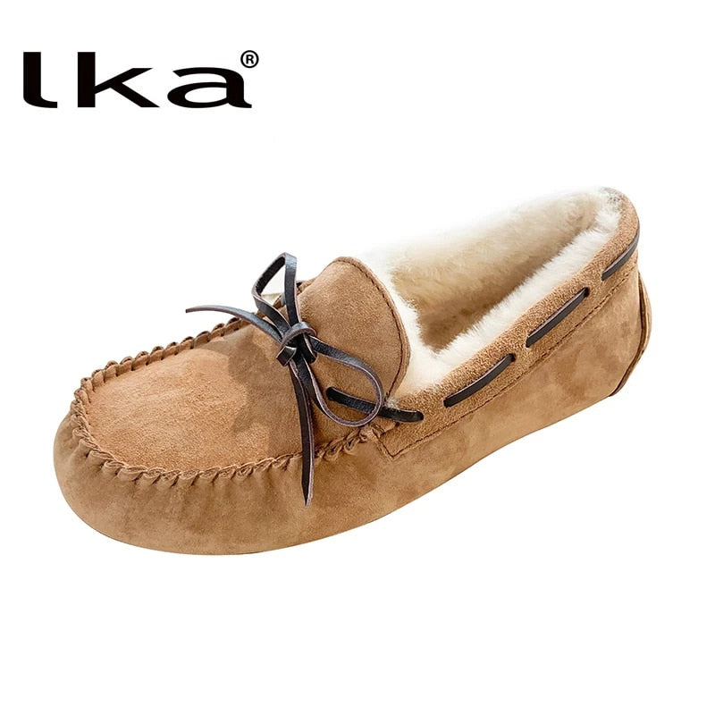 High Quality 100% Natural Fur Genuine Leather Women Flat Shoes New Fashion Women
