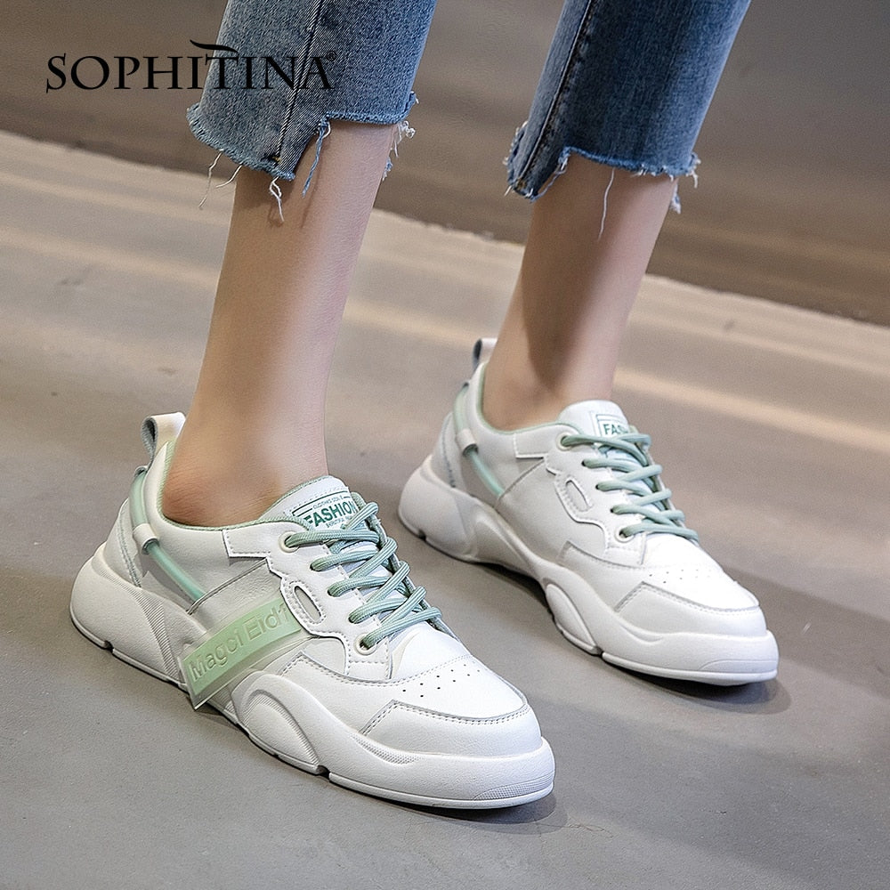 SOPHITINA Women's Shoes Fashion Comfortable Real Leather Sneakers