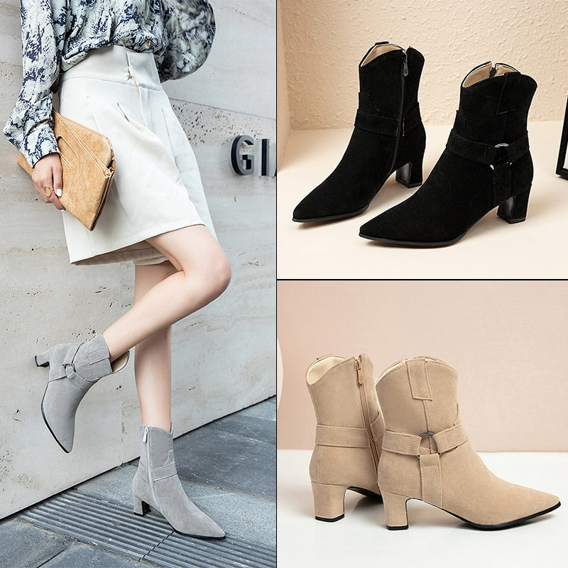 New Casual Pointed Toe Low Heels Women's Ankle Boots