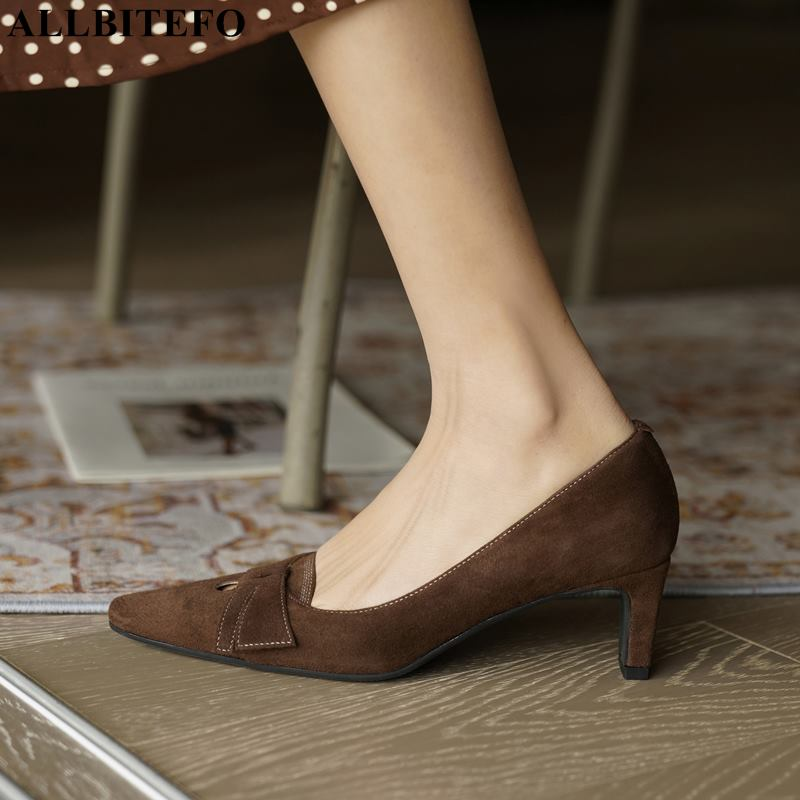 ALLBITEFO soft sheepskin suede genuine leather women heels