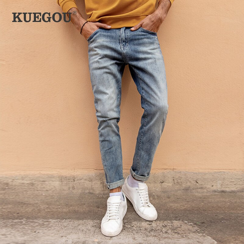 KUEGOU Cotton Autumn Spring Clothing  Man Jeans Scratched Wear Slim Fashion