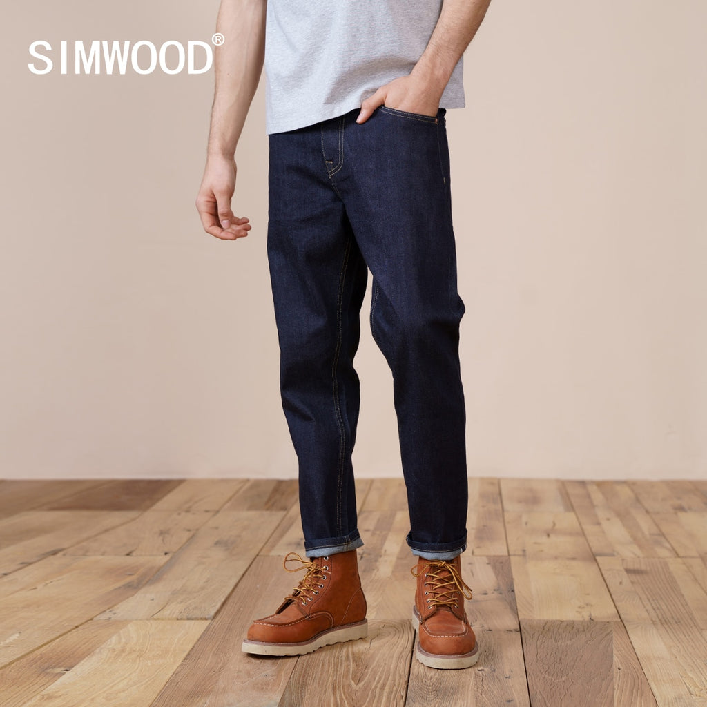 SIMWOOD  New Jeans Men Comfortable Selvage Denim Trousers