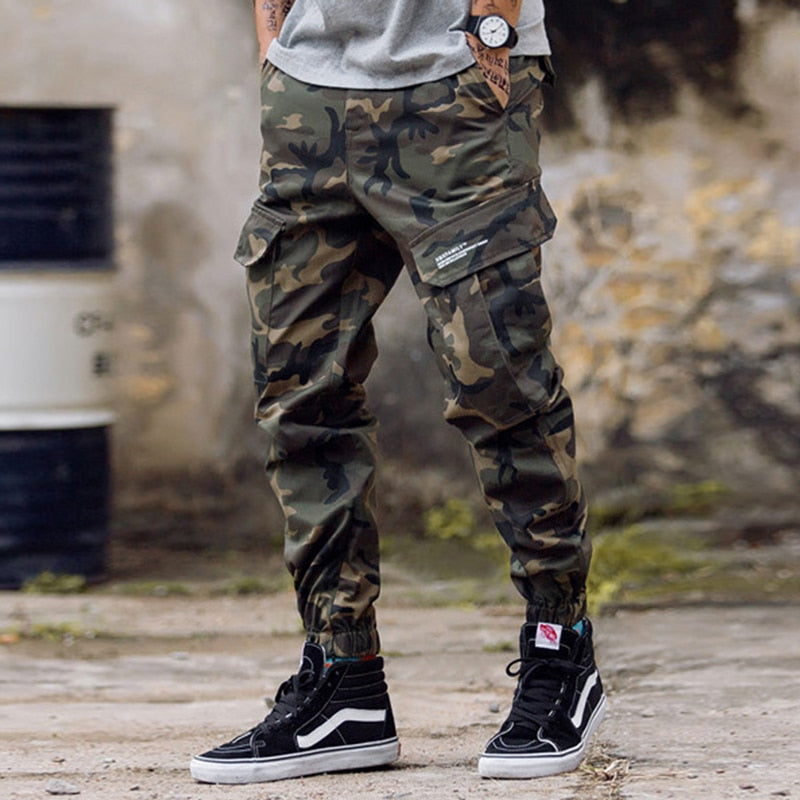 Fashion Streetwear Men Jeans Camouflage Military Army Trousers Loose Fit Big Pocket Cargo Pants