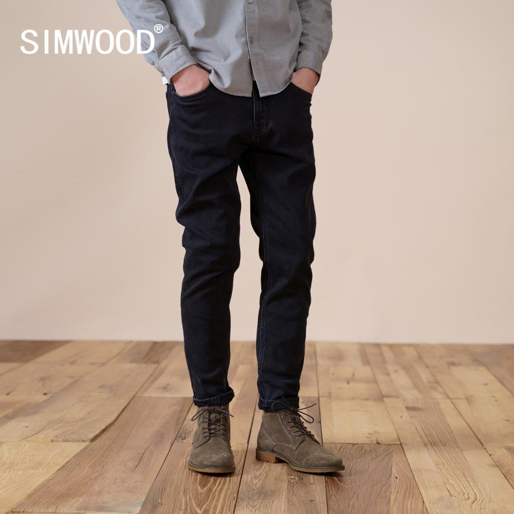 SIMWOOD 2021 Winter New Warm Fleece Lining  Jeans Men Black Slim Fit Denim