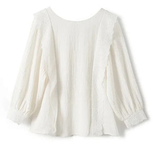 Lace Shirt Woman Patchwork Backless Buttons Elegant White Ruffles Blouse