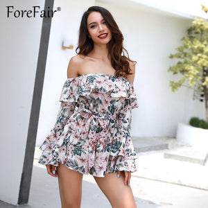 Forefair Bohemian Floral Print Ruffles Chiffon Shorts Jumpsuit Rompers