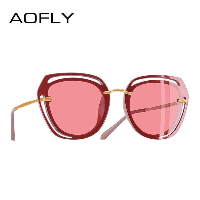 AOFLY BRAND DESIGN Square Sunglasses Female Fashion Hollow Out Frame