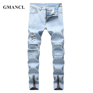 GMANCL Biker Jeans Ripped Skinny Casual Men Pleated Cotton Joggers Jeans Trousers