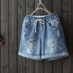 Floral embroidery cotton denim shorts women summer