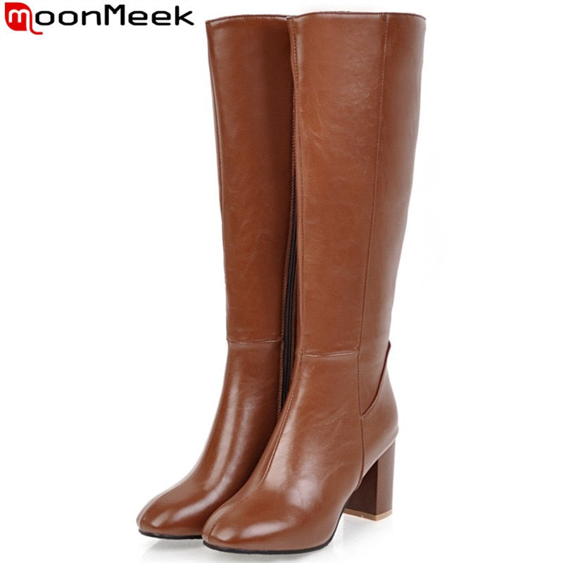 MoonMeek Large size  34-45 fashion autumn winter boots women square toe zip high heels