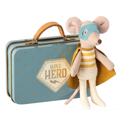 Maileg Superhero Mouse Little Brother Mouse in Suitcase