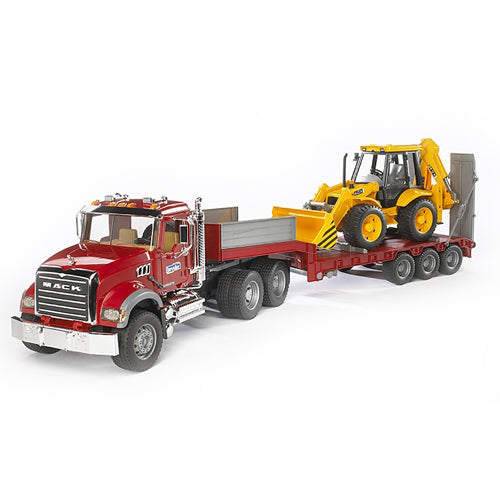 Bruder MACK Granite Flatbed Truck with JCB Loader
