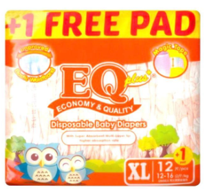 EQ Plus Baby Diapers Budget Pack 12pcs (Assorted Sizes)