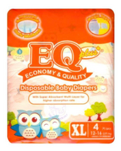 Load image into Gallery viewer, EQ Plus Baby Diapers Mini Pack 4pcs (Assorted Sizes)