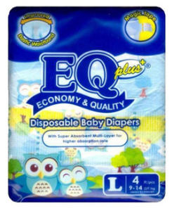 EQ Plus Baby Diapers Mini Pack 4pcs (Assorted Sizes)
