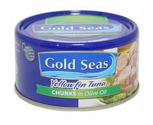 Load image into Gallery viewer, Gold Seas Tuna Chunks Olive Oil (Assorted Sizes)